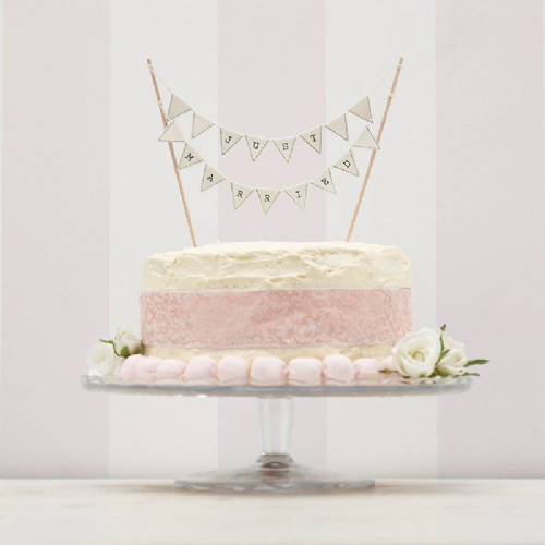 Vintage Lace Bunting Cake Topper - Just Married - Ivory